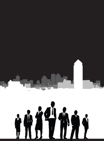 a4 background: people on a cityscape