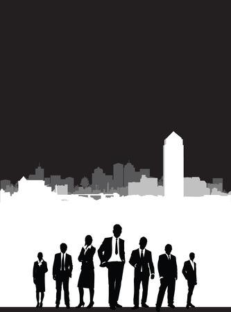 built tower: personas en un paisaje urbano