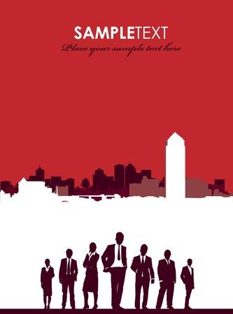 red cityscape brochure Vector