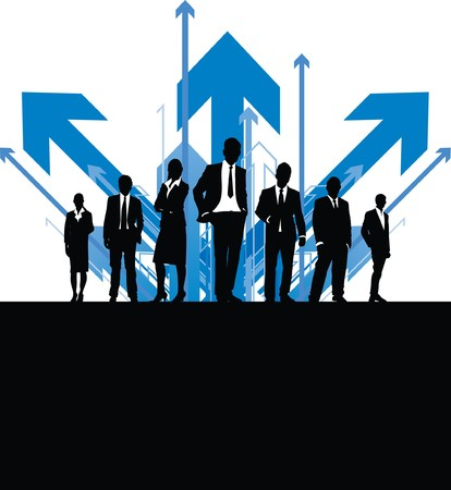 business people with arrow background Illustration