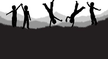 cartwheel: children playing on the grass Illustration