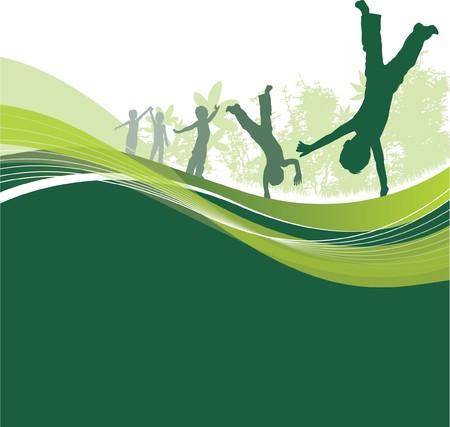 cartwheel: children dancing Illustration