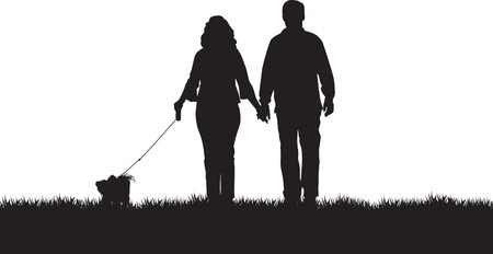 dog park: couple walking their dog