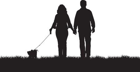familia parque: pareja caminando a su perro  Vectores