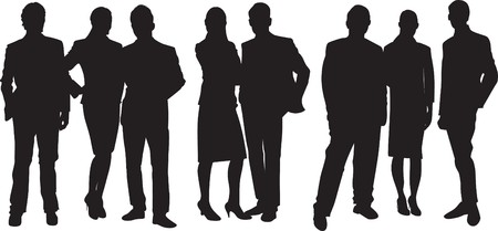 group of business people: silhouette of people Illustration