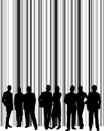 silhouettes of people on a barcode Vector