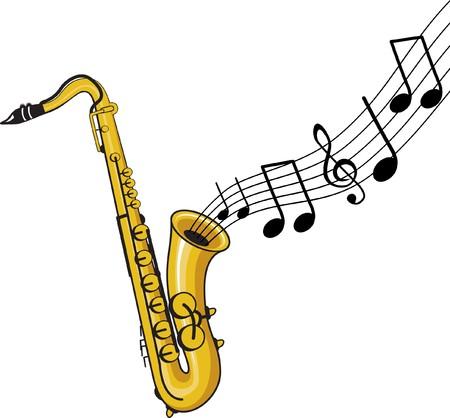 saxophone: saxof�n con notas de m�sica
