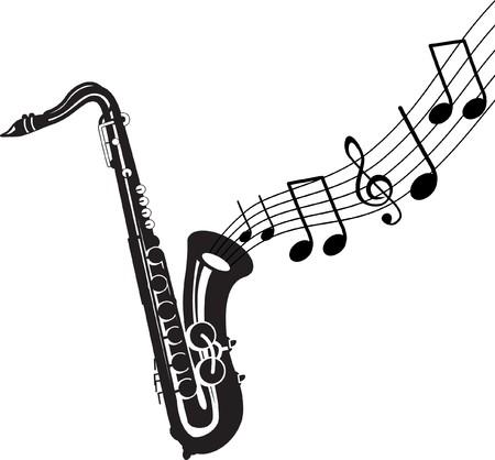 saxof�n: saxof�n con notas de m�sica
