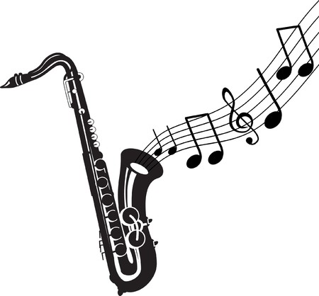 saxophone: saxophone with music notes