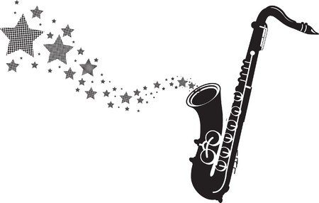 saxophone with stars Vector