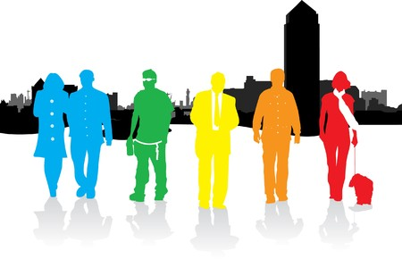 people on a cityscape background Vector