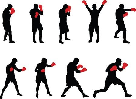 boxeadora: personas coloridas  Vectores