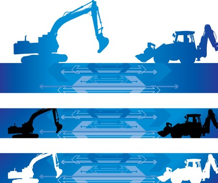 construction machinery: construction banners Illustration