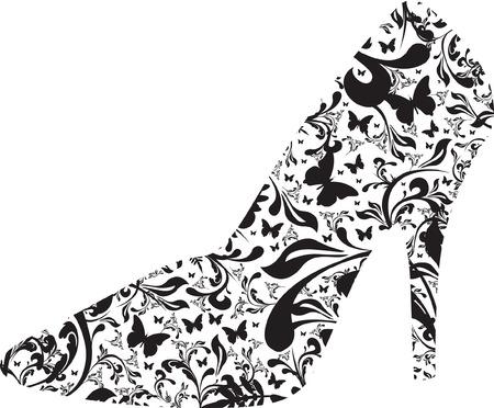 floral high heel Vector