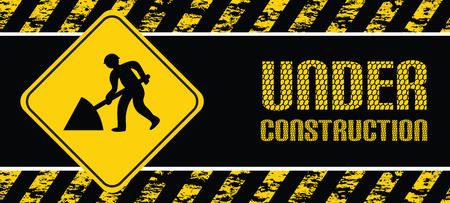 under construction sign with man: construction banner