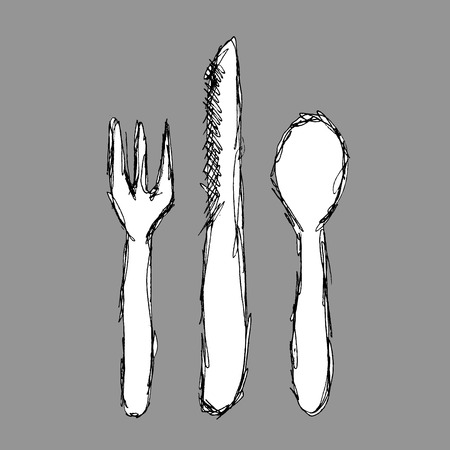 abstract fork spoon and knife  Vector