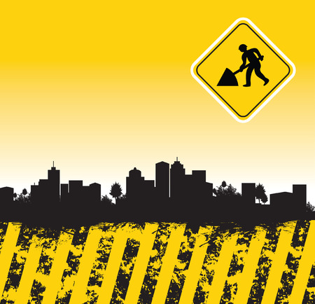 under construction sign with man: abstract townscape Illustration