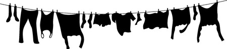 black and white washing line
