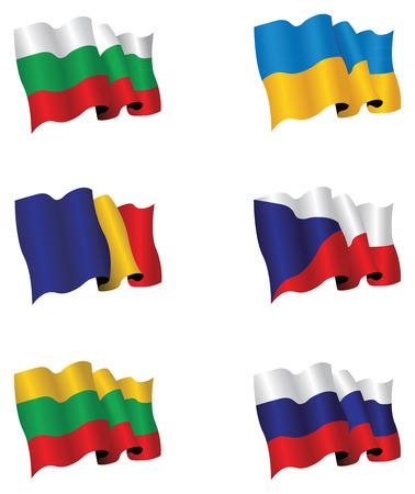 ukraine flag: set of six flags