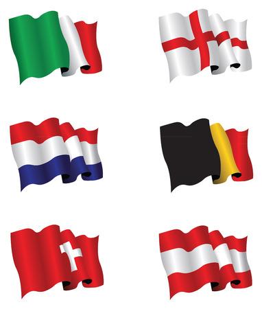 belgie: set van zes vlaggen Stock Illustratie