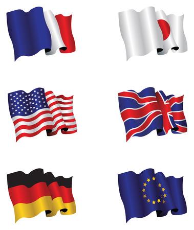 bandera japon: conjunto de seis banderas Vectores