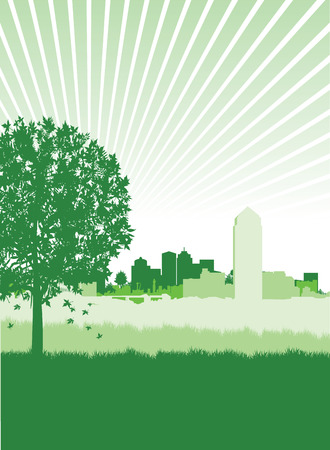 flat leaf: tree silhouette on a cityscape background Illustration