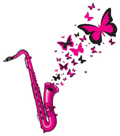 papillon rose: saxophone jouant
