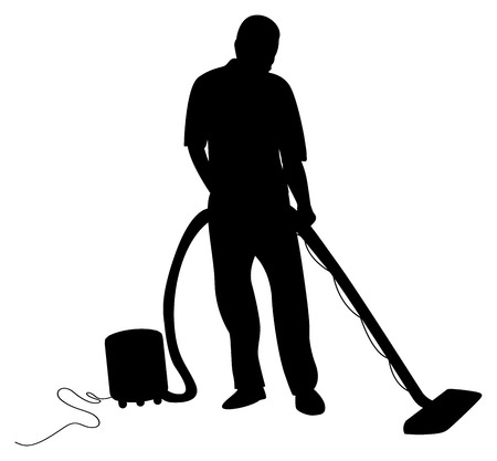 carpet clean: man hoovering