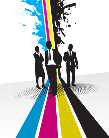 lineas verticales: empresarios con fondo de bienvenida