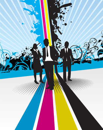 business people with splash background Stock Vector - 8871310