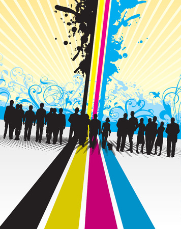 people silhouettes on a cmyk splash background Vector