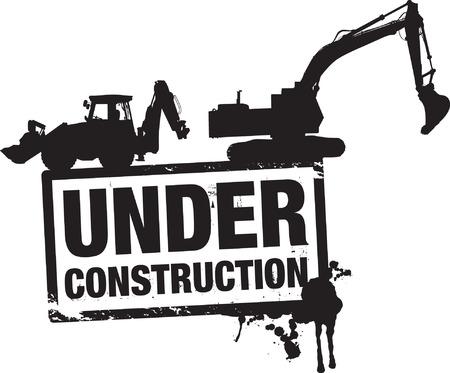 escavadeira: em constru��o fundo Ilustração
