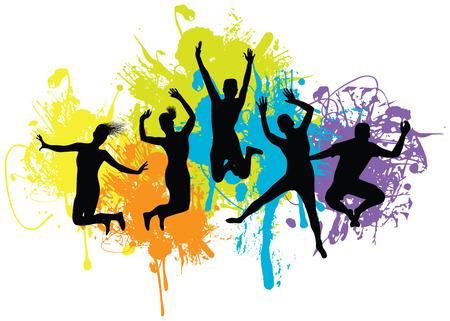 fitness danse: gens sautant Illustration