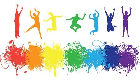 arcoiris: personas saltando sobre un fondo de bienvenida de tinta Vectores