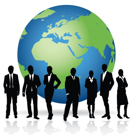 business people on a world background Stock Vector - 8982669