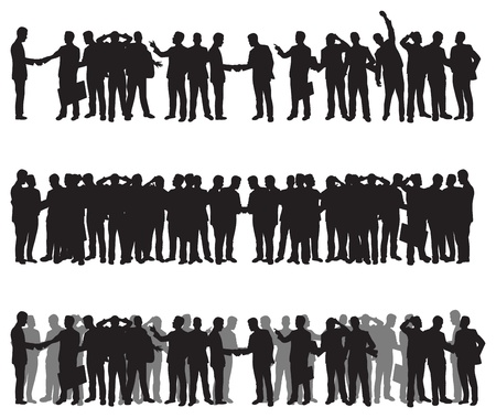 silhouette crowd: business people