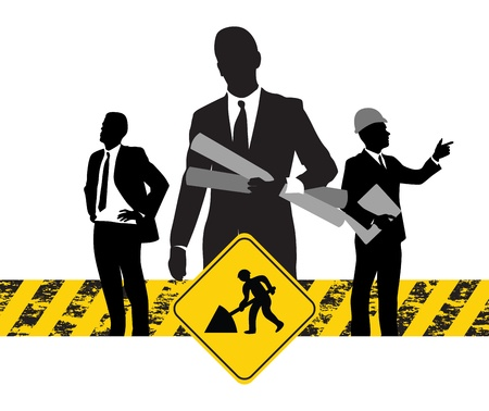 construction machine: construction workers background Illustration