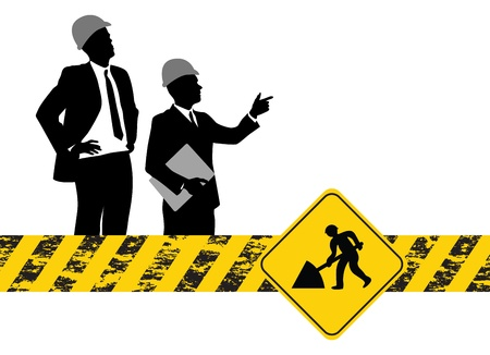 yellow beware: construction workers background Illustration