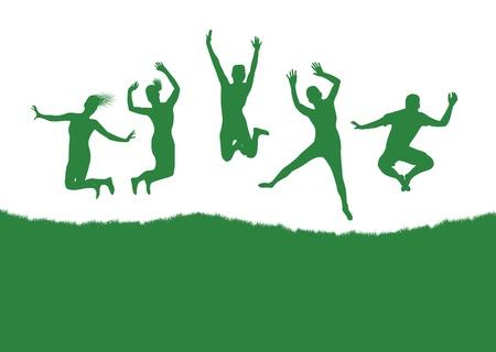 trampoline: people jumping