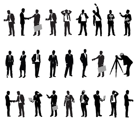stressed businessman: people silhouettes Illustration