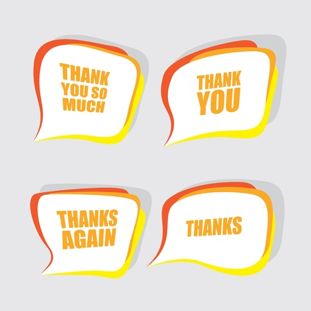 thanks a lot: thank you speech bubbles Illustration