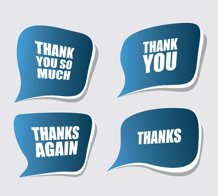 many thanks: thank you speech bubbles Illustration