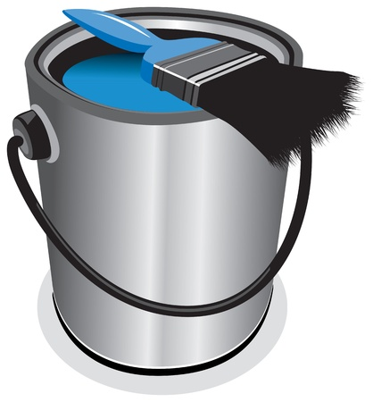 blue paint pot Vector