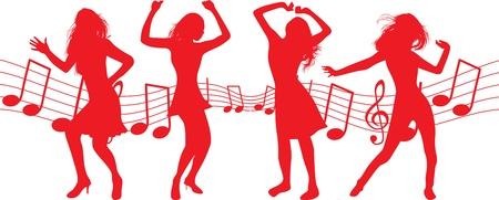 flexible woman: baile siluetas de mujer Vectores