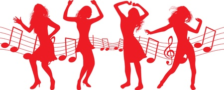 dancing woman silhouettes Stock Vector - 9452178