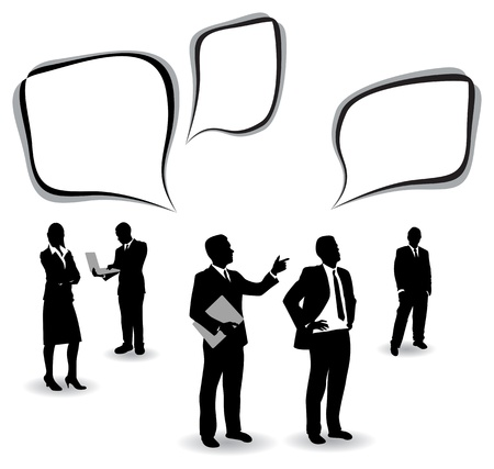 businessman shoes: business people with speech bubbles Illustration