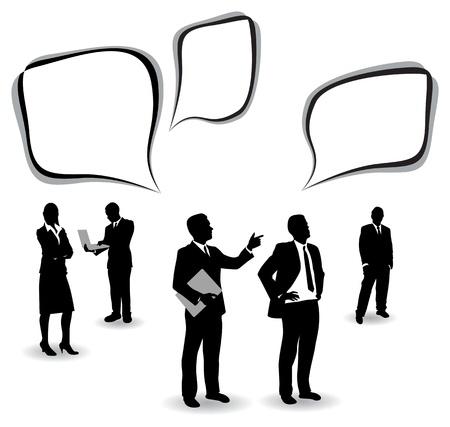 men suit: business people with speech bubbles Illustration