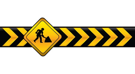 under construction sign with man: digging banner Illustration