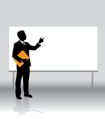 a businessman on a white board