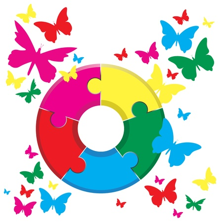 red butterfly: a jigsaw on a butterfly background Illustration
